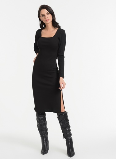 Styletag Kare Yaka Elbise Siyah